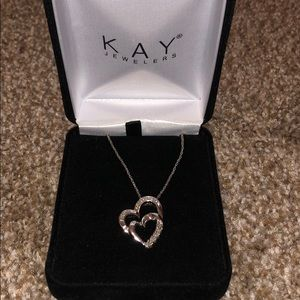 Kay jewelers 925 ss double heart necklace